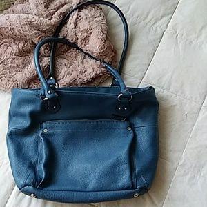 Tignanello Blue Leather Shoulder Bag